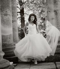 bride runs, black and white