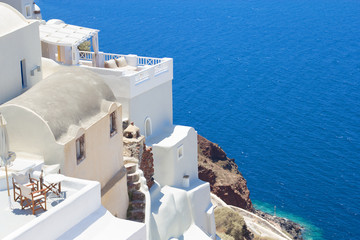 traditional houses at Santorini island in Greece