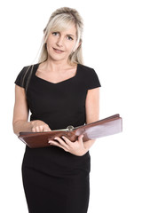 Geschäftsfrau in Kleid schwarz isoliert ; Terminkalender