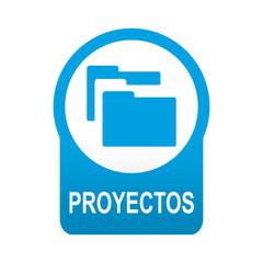 Etiqueta tipo app azul redondo PROYECTOS