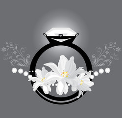 Stylized female ring with white tulips on the gray background