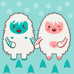 Happy yeti couple. Single tile of a vector pattern or texture