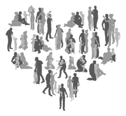 Family silhouettes heart