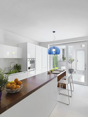 interior view of modern kitchen with kitchen island