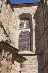 Stained glass window in Collegiate Church of Santa Maria