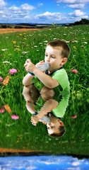 boy using inhaler for asthma with landscape