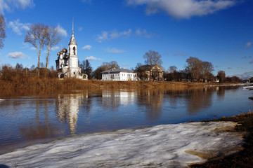 Spring flood church on the bank
