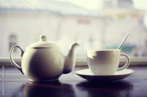 Plexiglas Thee kettle for tea in a cafe