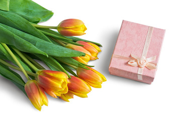 Bouquet of Tulips and Pink Gift Box