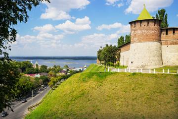 RUSSIA, NIZHNY NOVGOROD: Powerful round tower on the green hills
