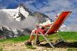 Girl in the Austria Alps .On the background Grossglockner
