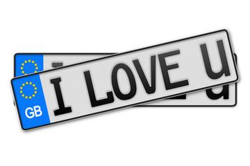 Auto Kennzeichen - i love u Groß Britanien