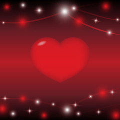 red heart on red background with light star