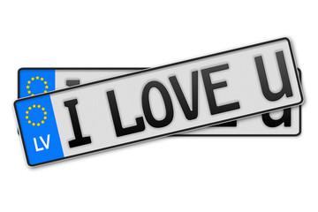 Auto Kennzeichen - i love u Lettland