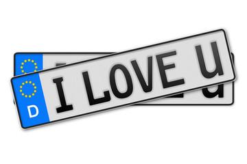 Auto Kennzeichen - i love u Deutschland