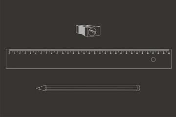 comp lápiz regla sacapuntas líneas fondo oscuro