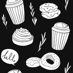 Coffee and sweets background. Cute seamless pattern