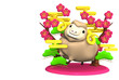Smile Brown Sheep, Pink Plum Trees With Text Space