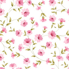 Pink flowers fabric.