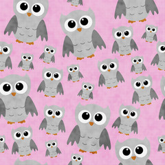 Gray Owls on Pink Textured Fabric Repeat Pattern Background