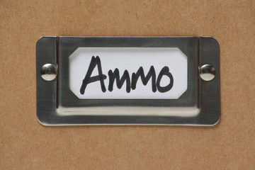 Ammo or Ammunition label holder on a cardboard box
