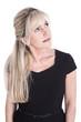 canvas print picture - Portrait: Frau blond isoliert schaut neugierig zur Seite
