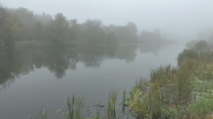 morning with mist over river