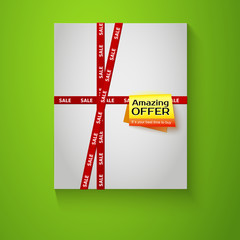 Gift box with red sale tape on green background. Special offer