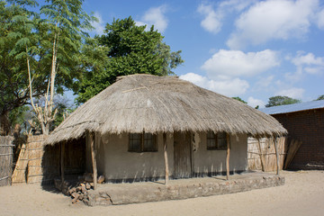 typical African house with a thatched roof