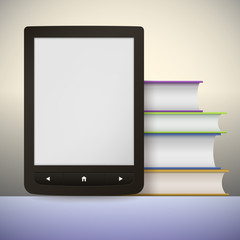 Electronic book reader with a stack of books. You may add your