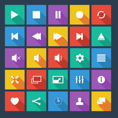 Media player flat  icons with long shadow.