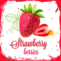 Strawberry vector watercolor of sliced and berries fruit