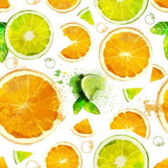 Fruit seamless pattern of orange and lime slices