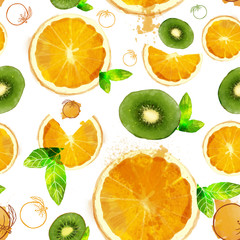 Fruit seamless pattern of orange and kiwi slices