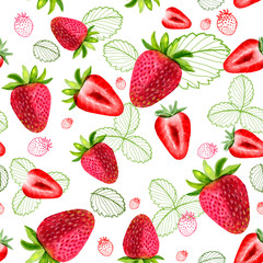 Strawberry seamless patterns sliced ​​fruit leaves watercolors