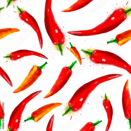Fototapeta Pepper seamless pattern, summer composition of red chili papper