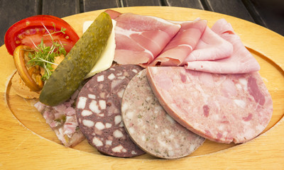 Platter of German cold cuts of meat and sausage