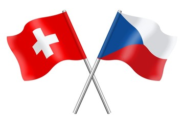 Flags: Switzerland and Czech Republic
