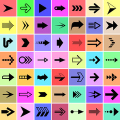 Arrow and pointer signs set vector illustration