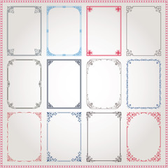 Decorative frames and borders A4 proportions set #3