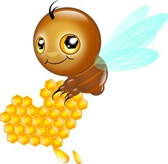 Cute bee with honey heart