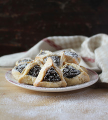 Hamantaschen cookies with dried prune