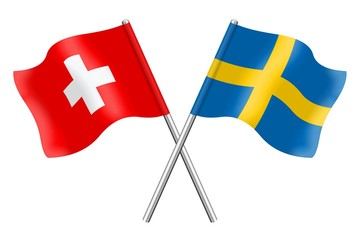 Flags: Switzerland and Sweden