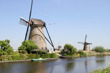 Traditional Dutch windmills near Kinderdijk, The Netherlands