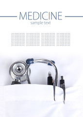 Doctor pocket with pen, stethoscope, close-up