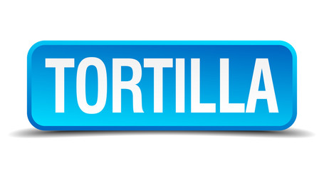 Tortilla blue 3d realistic square isolated button
