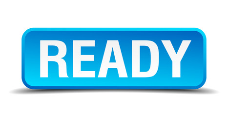 Ready blue 3d realistic square isolated button