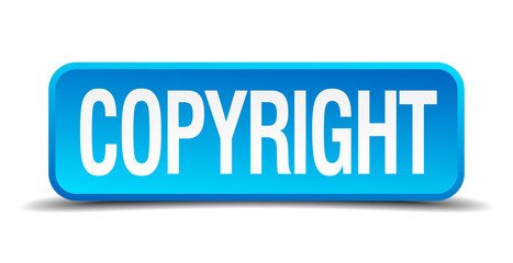 copyright blue 3d realistic square isolated button