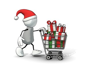 little sketchy man - santa hat and shopping cart with gift boxes