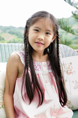 Portrait of little happy asian cute Girl